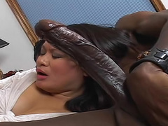 Happy Asian sucks huge black cock