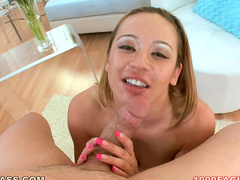 Cock swallowing hot chick in POV