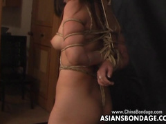 Chubby Asian babe poses in a bondage