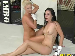 Girls look hot fighting naked
