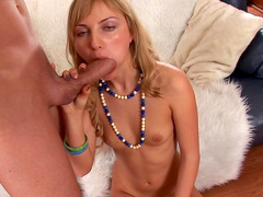 Blonde is sucking that very big pole