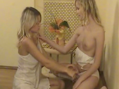 Amber and her lesbian friend spread legs in the room