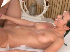 Pornstar brunette being fucked in her oiled ass