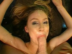 Brunette swallows tones of tasty sperm