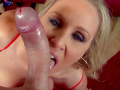 Sweet chick Julia Ann gives a sloppy blowjob
