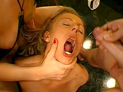 Asshole sex and cum-swapping with two blondes