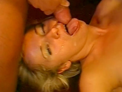 Cute blonde MILF in stockings gets a facial