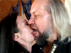 Old guy fucks a super hot pornstar with natural tits