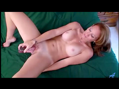Steamy milf pussy takes toy