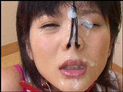 Slender Asian babe is got cum on her face