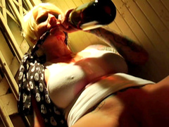 Two fake-tit blondes are fucking with hardcore dude