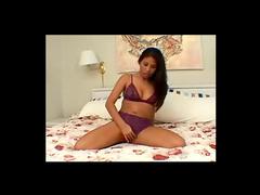 Solo Asian in gorgeous purple lingerie