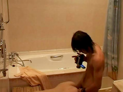 Bathroom boning from voyeur view