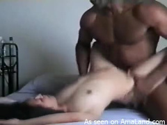 Black dick pounds Asian snatch