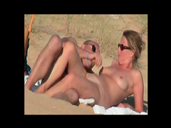 Naked couple at beach