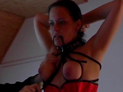 Tied to a floor babe gets nice dose of humiliation