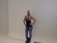 Diamond babe poses on her black high heels