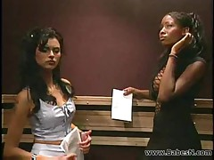 Interactial Lesbian sex in public lift