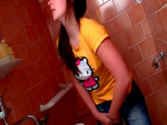 Teen masturbates on toilet