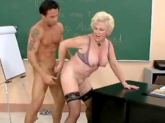 Mature teacher in stockings fucked