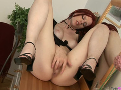 Solo with lingerie redhead