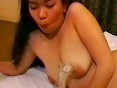 Gangbang, bukkake and cum eating for Asian chubby slut