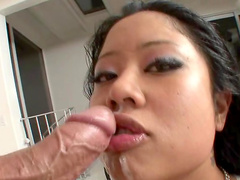Asian with big tits shows amazing blowjob skills