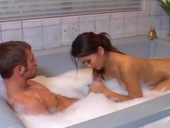 Asian brunette Lana Croft sucks in the shower