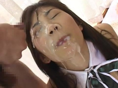 Japanese gets sperm on her closed eyes