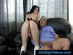 Petite British gal fucks a dirty pervert old guy