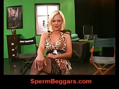 German blonde does striptease in sexy stockings