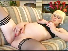 Sexy pregnant woman masturbates and fucked