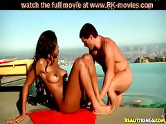 black girl in bikini rides whie dick outdoor at the pool