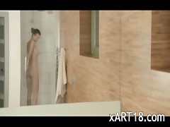 charming shower masturbation