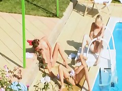 Three coeds secret fucking by the pool