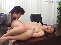 Pantyhose secretary blowjob and fuck