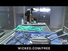 HOT brunette doctor India Summer sucks and fucks big-dick at work
