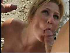 Beach threesome anal