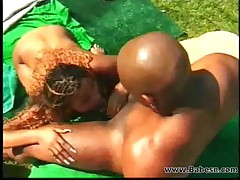Two ebony couples fucking outdoor