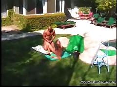 Two ebony couples fucking outdoor
