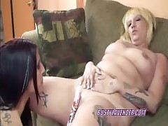 Lesbian Lexxi sharing toys with busty Lavender