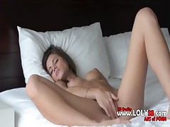 brunette solo masturbation on sofa