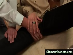 Glamorous european brunette sucks cock