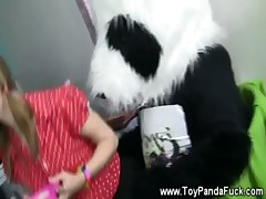 Cute teen girl seducing toy panda