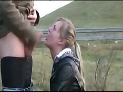 roadside public deepthroat blowjob cum