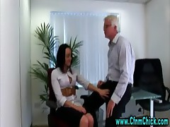 Sexy cfnm office babe