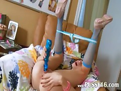 Russian cheerleader discovering new toys