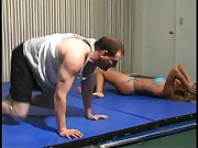 mixed wrestling julie in blue bikini part 1