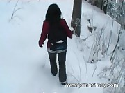 Outdoor winter blowjob