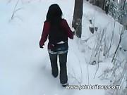 Outdoor winter blowjob